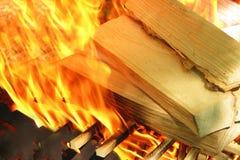 Le bois brûle sur l'incendie Photographie stock