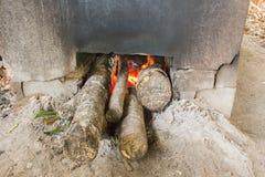 Le bois de chauffage brûle, des pizzas faisant cuire au four dans un four ouvert de bois de chauffage, burni du feu Image stock