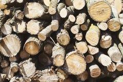 Le bois de chauffage empilé a coupé et a placé dans une pile images stock