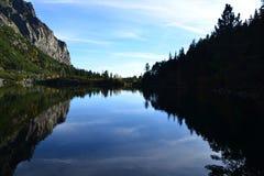 Le bois de parc de vert de ciel bleu de nature de montagne opacifie le réflexe de lac gentil photos stock