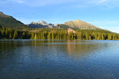 Le bois de parc de vert de ciel bleu de nature de montagne opacifie le réflexe de lac gentil photographie stock libre de droits