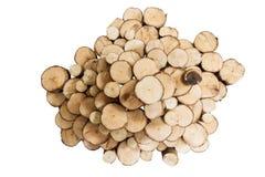 Le bois de rondins a coupé la décoration de section, d'isolement sur le fond blanc Photos stock