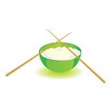 Le bol de riz japonais avec des bâtons dirigent la partie deux d'illustration Photo libre de droits