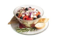 Le bol de salade avec le romarin sur le blanc a isolé le fond Image libre de droits