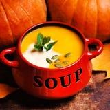 Le bol de soupe à potiron a tourbillonné avec de la crème de noix de coco avec le pumpk frais Photographie stock libre de droits