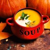Le bol de soupe à potiron a tourbillonné avec de la crème de noix de coco avec le pumpk frais Photo libre de droits