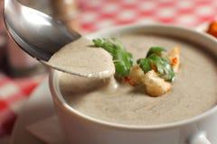 Le bol de soupe crème avec le champignon de paris répand sur la table images libres de droits