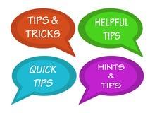 Le bolle di colloqui con l'iscrizione fornisce di punta e trucchi, punte utili, punte rapide, suggerimenti e punte royalty illustrazione gratis