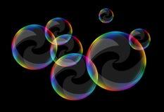 Le bolle di sapone hanno messo contro i riccioli neri di una radura del fondo royalty illustrazione gratis