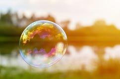 Le bolle di sapone sulle banche del fiume volano sottovento Il concetto di leggerezza e di aerazione, luce solare Fotografia Stock