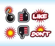 Le bombe comiche di stile gradicono ed a differenza dei simboli. Il pollice alto ed il pollice fanno Fotografie Stock