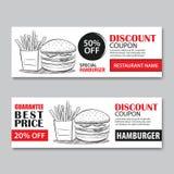 Le bon de cadeau d'aliments de préparation rapide et la vente de bon escomptent le calibre De plat illustration stock
