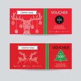 Le bon de Noël et de cadeau de nouvelle année délivrent un certificat le calibre de bon Décorez du style tiré par la main détaill illustration stock
