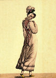1810 - Le bon genre, Paris. Lovely lady in pink dress with assor Stock Photography