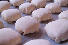 Le bonbon durcit sur la plaque de cuisson, la pâte sur une plaque de cuisson, la pâte employée pour faire les petits pains délici Photos stock