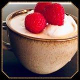 Le bonbon traite le dessert de crème glacée de gousse de vanille de framboise image stock