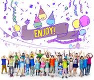 Le bonheur apprécient l'amusement Jolly Festive Concept photographie stock