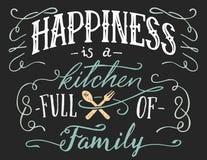 Le bonheur est une cuisine complètement de signe de famille illustration libre de droits