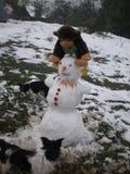 Le bonhomme de neige aime le singe Image libre de droits