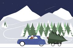 Le bonhomme de neige conduit dans une rétro voiture sur une route d'hiver Photos stock