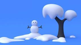 Le bonhomme de neige d'arbre beaucoup neige du style bleu 3d minimal de bande dessinée d'abrégé sur concept d'hiver de nature de  illustration libre de droits