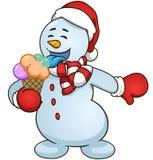 Le bonhomme de neige de bande dessinée mangent la crème glacée  Gradients simples d'illustration de clipart (images graphiques) d Photo libre de droits