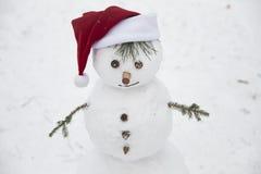 Le bonhomme de neige drôle avec distribue des branches de pin habillées dans un c rouge Images libres de droits