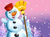 Le bonhomme de neige heureux dans l'humeur de Noël - flocons de neige Photographie stock