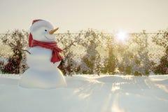 Le bonhomme de neige heureux et joyeux salue des vacances d'hiver photos libres de droits