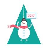 Le bonhomme de neige rencontre la nouvelle année 2017 Image stock