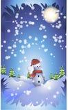 Le bonhomme de neige se tenant dans le bois sous la neige sur un fond bleu Illustration de Vecteur