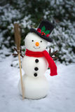 Le bonhomme de neige sur la terre neigeuse Photographie stock