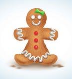 Le bonhomme en pain d'épice a décoré le glaçage coloré Biscuit de vacances dans la forme de Illustration qualitative de vecteur p Image libre de droits