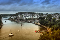 Le Bono (Brittany). Le Bono (Morbihan, Brittany, France): the old typical town and the river royalty free stock image