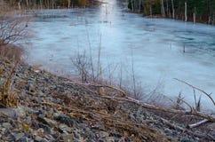 Le bord d'un lac congelé images libres de droits