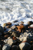 Le bord de la mer ondule le caillou Photos libres de droits
