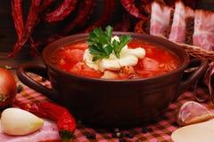 Le borscht ukrainien traditionnel de soupe à betterave photographie stock libre de droits