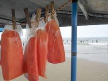 Le borse con la frutta del mango stanno vendendo nella spiaggia della manta, Ecuador immagine stock libera da diritti