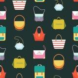 Le borse delle donne increspa il modello senza cuciture del fondo - illustrazione piana di vettore di stile Fotografie Stock