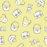 Le borse delle donne increspa il modello senza cuciture del fondo - illustrazione piana di vettore di stile Fotografie Stock Libere da Diritti