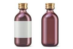 Le bottiglie farmaceutiche con l'etichetta e svuotano, rappresentazione 3D Fotografia Stock Libera da Diritti