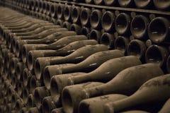 Le bottiglie polverose con champagne wine in una cantina Immagine Stock