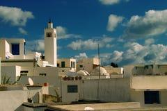 Le bou de Sidi a indiqué/village bleu et blanc Photo libre de droits
