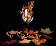 Le bouchon de vin de raisins en verre de vin, érable part dans la fumée photographie stock libre de droits