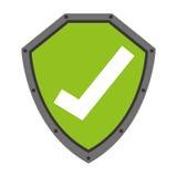 le bouclier de sécurité avec le symbole de contrôle a isolé la conception d'icône Image stock