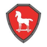 le bouclier de sécurité avec le Trojan Horse a isolé la conception d'icône Photo stock
