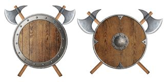 Le bouclier en bois rond et deux de chevalier ont croisé la bataille Photos libres de droits