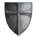 Le bouclier en métal du grand croisé médiéval a isolé l'illustration 3d Image stock