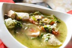 Le bouillabaisse pescano la minestra con frutti di mare, raccordo di color salmone, gamberetto, il gusto ricco, cena saporita immagini stock libere da diritti