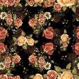 Le bouquet d'aquarelle fleurit et ombre sur un fond noir Configuration sans joint florale illustration de vecteur